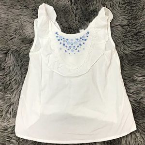 Dex | Girl's Sleeveless Top | white |Blue Flowers